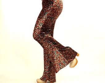 Velvet bell bottoms women/Hippie pant/Boho flare pant/Women leggings/Yoga pant/Plus size/Festival pant/Floral pant/70s clothing
