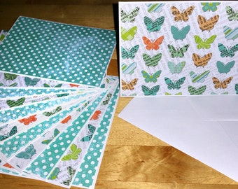 Set of 12, Blank Notes, Handmade, Cards, Girls, Blue, Multi, Butterflies, Stationery, Hearts, Gift, All Ocassion, Teens