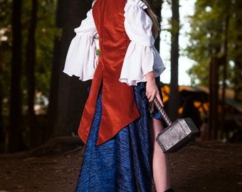 Fancy Red Airship Pirate Coat, Thor, Steampunk Superhero, Snow White, Cosplay, Lady, Femme, Corset Costume