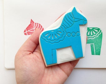 dala horse rubber stamp | woodland animal stamp | diy birthday christmas card making | craft gift for her | | hand carved by talktothesun