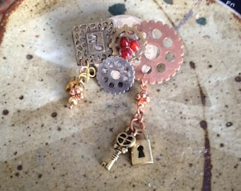 Steampunk pin, one of a kind