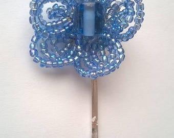 Medium Blue French Beaded Flower on Silverplated Bobby Pin - Hair Grip - Wedding, Bridesmaid, Prom