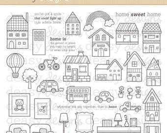 "Digital Stamp Art "" Sweet Home """
