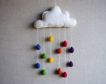 Needle Felt Raindrop Mobile Kit - Rainbow colours