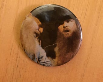 ZZ Top  Pin Badge Dusty Hill Billy Gibbons Texas pinback