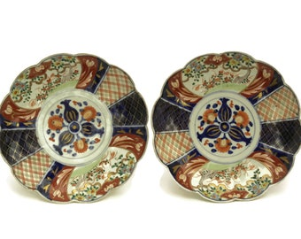 Antique Japanese Imari Plates Matching Pair. 19th Century Round Scalloped Porcelain Dishes. Asian Home Decor and Collectibles.