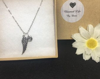 Personalized Angel Wing Necklace - Memorial Necklace