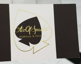 500 Business Cards - metallic foil stamped - gold, silver and more - 14 PT matte or uncoated or glossy - custom printed
