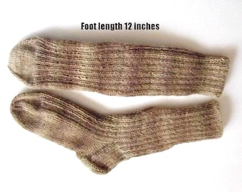 "Wool socks hand knit for men.Foot length 12"". Length from cuff to heel 12 "".Variegated beige & brown. Boot socks .Boot liners.Ready to ship"