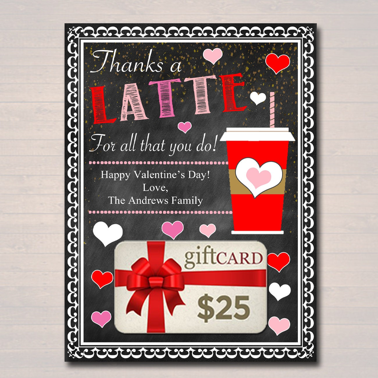 EDITABLE Coffee Card Holder Thanks A Latte Valentine Gift