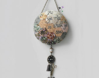 "Pin Cushion Wall Hanging ""As Ye Rip, So Shall Ye Sew"""