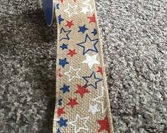 Ribbon, Burlap Star Ribbon, Star Ribbon, Wired Ribbon, Wired Star Ribbon, American Flag Ribbon, Wreath Ribbon, Red White and Blue Stars
