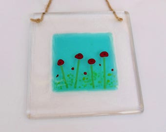 Fused glass art. Fused glass poppy wall hanging. Fused glass sun catcher. Fused glass poppy wall art.