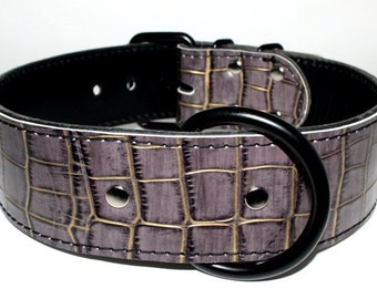 Dark Grey Leather Dog Collar, Grey Leather Dog Collar, Grey Alligator Dog Collar, Leather Dog Collar With Black Hardware (Made In Ca)