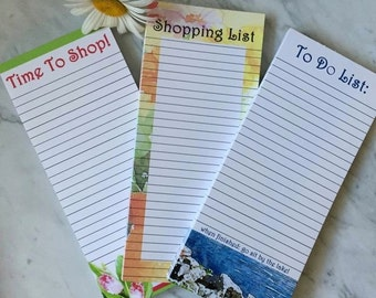 GROCERY LIST PAD set of three, To-Do List Pad, Magnetic back pad, Lined Notepad, Shopping Pad, Memo Pad, Gift for Mom, Gift for Her