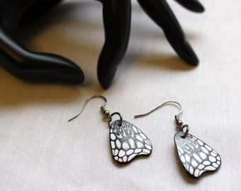 Butterfly Wing Earrings, Black and White Wings