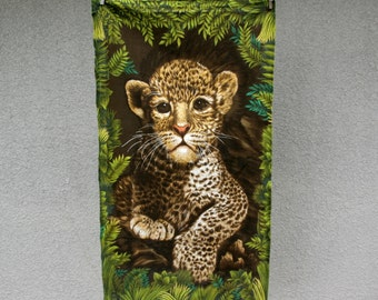 Vintage Fabric Baby Leopard Wall Hanging Art Home Decor Sewing Supplies Jungle Africa Safari
