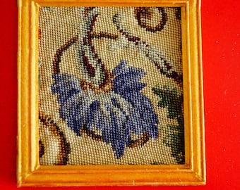 Dollhouse Miniature Framed Micro Petit Point: Stylized Blue Flower