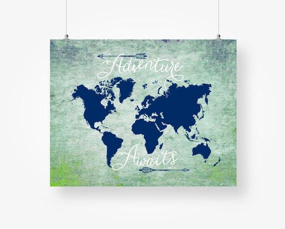 World map digital download adventure awaits printable travel te gusta este artculo gumiabroncs Image collections