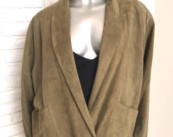 Vintage Army Green Suede Double Breasted Women's Jacket