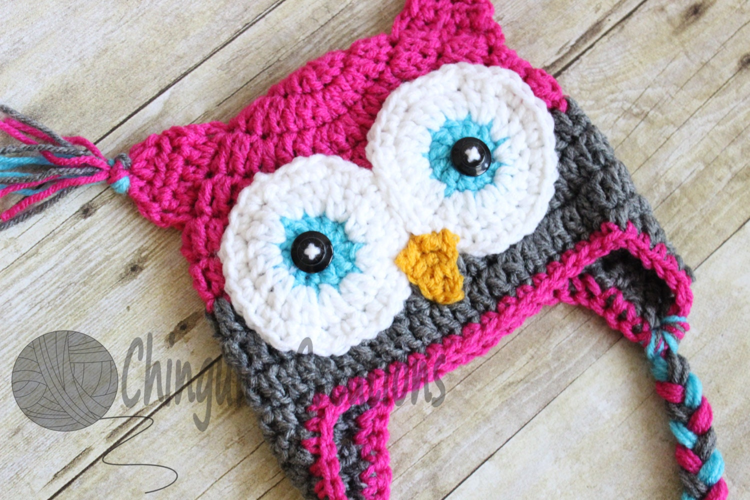 Crochet owl hat baby hot pink gray owl beanie girls owl hot zoom bankloansurffo Image collections
