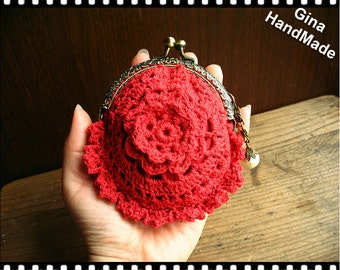 Crochet flower (5color) coin purse / coin Wallet / pouch / kiss lock frame bag / frame purse -GinaHandMade
