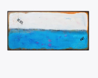 Extra Large Abstract Painting on Canvas , Original Modern Art , 55x27 inch , Blue Abstract Artwork,  !