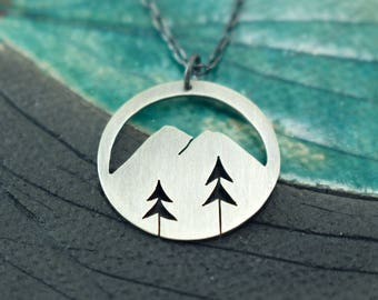 Mountain Silhouette + Two Open Pine Trees sterling silver round pendant