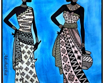 Ethnic African Zentangle Art Print