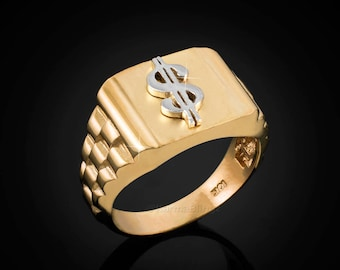 10K Cash Money rolex style Dollar Sign Ring-  (yellow, white, rose gold)