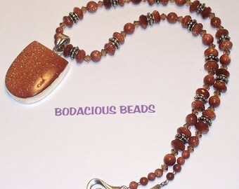 "Sparkly Handmade 18""  PENDANT NECKLACE & Earring Set Rust Goldstone SWAROVSKI Crystal with Silver Accents and  Closure"