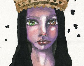 Queen Mary- Mixed Media Giclee Art Print by Amber Button