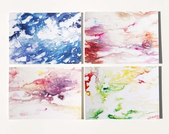 Hand Dyed Print Flat Notecards 4 Bar Set of 6