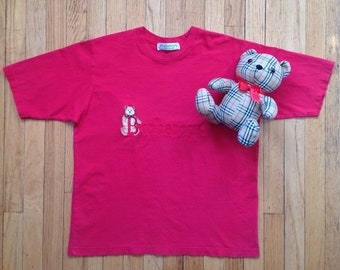 Vintage BURBERRY Bear Tee sz L 1990s Red Embroidered BURBERRYS Of LONDON  Tshirt Made In England