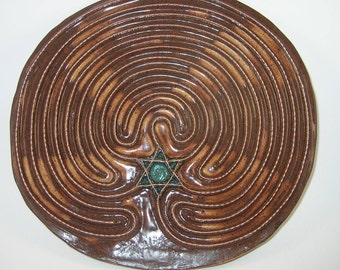 Starseed® Finger Labyrinth with copper wire and Merkaba, cinnamon on shino,  SSMW012517,  11""