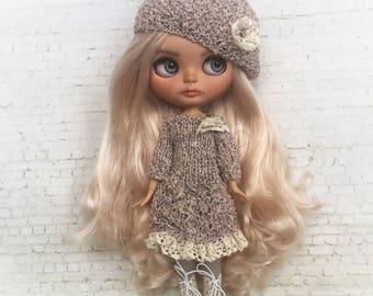 Blythe clothes, blythe dress, , doll dress, blythe outfit, doll knitted set, blythe couture, bjd clothes, blythe fashion