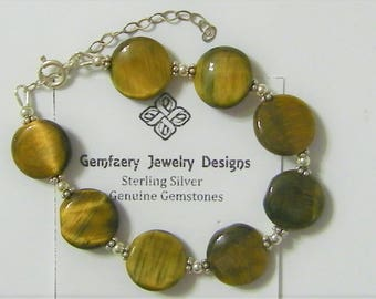 Sterling Silver Petite Natural Tiger's Eye Gemstone Bracelet...Handmade USA