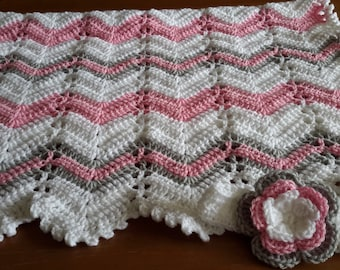 baby girl gift set, crochet baby blanket and hat gift set, pink gray and white, crib blanket, photo prop, READY TO SHIP