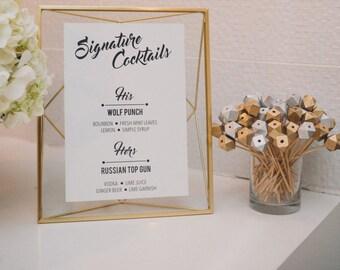PRINTABLE Modern Geometric Wedding Black and White Signature Drinks Menu 8x10 -  Digital Files Customized