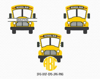 School Bus SVG, Back to School SVG, yellow bus, School Bus Monogram frames, for CriCut Silhouette cameo Files svg jpg png dxf