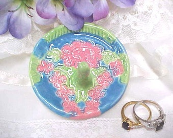 Wedding Ring Dish, Handpainted with a Mosaic Look, Pottery Ring Bowl, Pink Blue Green, Clay Ring Dish, Jewelry Holder, Ring Catcher