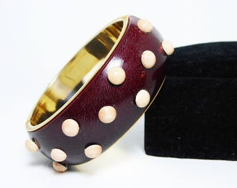 Polkadot Hinged Cuff Bracelet - Brown with Pink Dots - Raised Semi Spheres - Enamel over Metal - Vintage 1950s Bangle  1960s MOD Jewelry