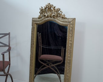 Elegantly faded French overmantel mirror