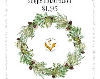 watercolor clipart, CHRISTMAS clipart, wreath clipart, xmas clipart, handpainted clipart, nature inspired, woodland clipart, holiday clipart