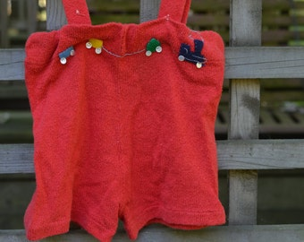 50s Baby Toddler Boy Romper Shortalls Bright Red With Trains 3T