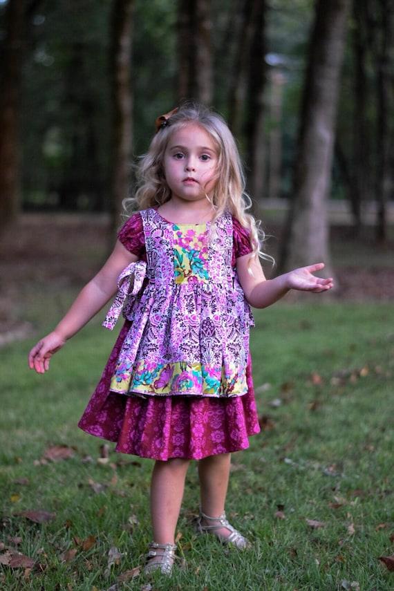Girls Peasant Dress with Pinafore - Back to School - Fall Dress With Pinafore - Pinafore Dress - Boho Peasant dress - Purple Boho