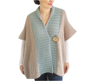 Beige - Mint Mohair Cardigan with Big Coconut Button by Afra Plus Size Over Size