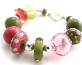Trentino - Lampworked Pink & Green Bracelet