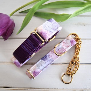 Marble Dog Collar, Hexagon, Purple Dog Collar, Pink, Girl Dog Collar, Female, Gold Metal Buckle