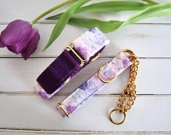 Marble Dog Collar, Hexagon, Purple Dog Collar, Pink, Girl Dog Collar, Female, Gold Metal Buckle